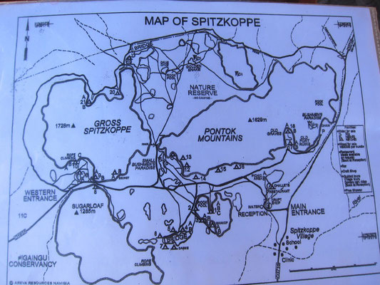 Spitzkoppe Plan Campingplätze, Namibia