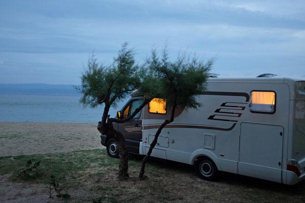 Unser Hymer in Strandlage im Camp Galeb, Omis