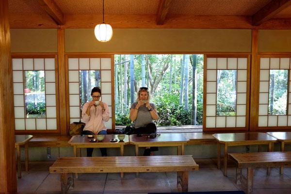 Teehaus in der Okochi Sanso Villa in Arashiyama, Kyoto