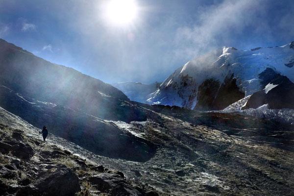 Wanderung von Nid d'Aigle zum Refuge de Tête Rousse am Mont Blanc