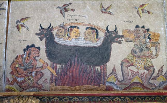 Deckenmalerei im Taman Kertha Gosa Palast