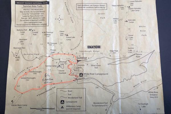 Karte Rundwanderung Mt. Rainier