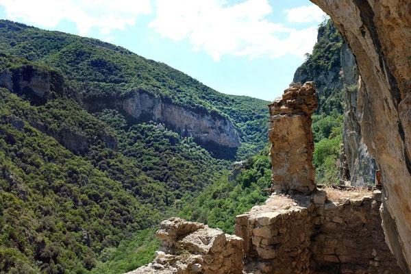Ausblick von den Ruinen des alten Philosophos-Kloster, Lousios-Schlucht