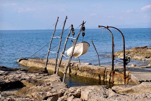 Aufgehängte Fischerboote Kap Savudrija, Istrien