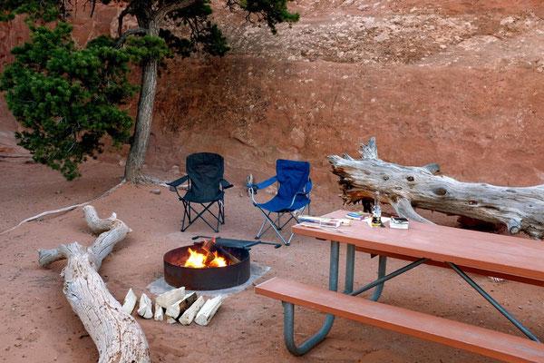 USA Nationalpark Campsites haben alle Grill und Tisch