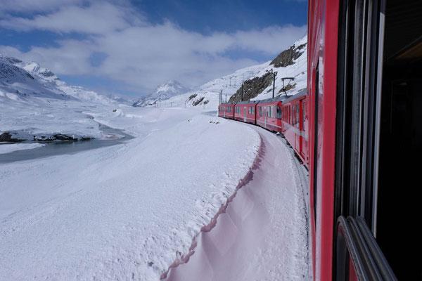 Mit der Berninabahn wieder nach Hause zum Campingplatz