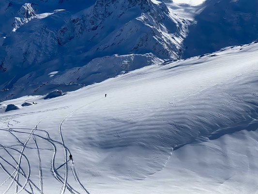 Powdern unter Gletschern - am Corvatsch