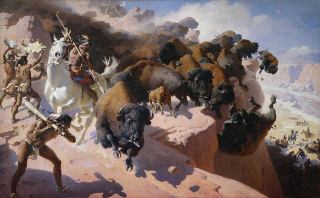"""Buffalo Drive"" von Wiliam R. Leigh 1947, Whitney Western Art Museum"