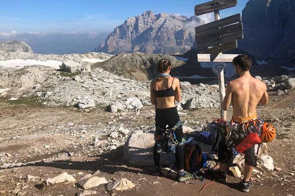 Begegnung mit Kletterern