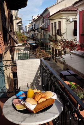 Frühstück im Hotel Kyveli Suites, Nafplion, Peloponnes