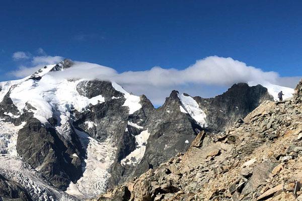 Piz Bernina mit Biancograt, Wanderung Diavolezza Bergstation