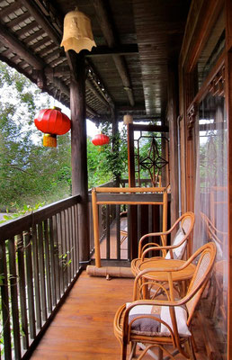 Unser Balkon im Yangshuo Tea Cozy Hotel