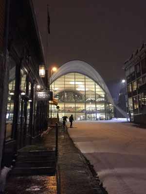 Blickfang besonders bei Nacht, die Stadtbibliothek Tromsø
