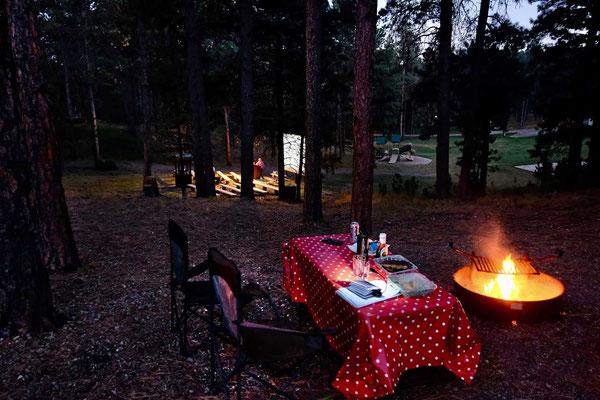 Unser Platz im Blue Bell Campground über dem Ranger Theater