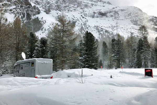 Winter Camper Hymer, Morteratsch Schweizer Engadin
