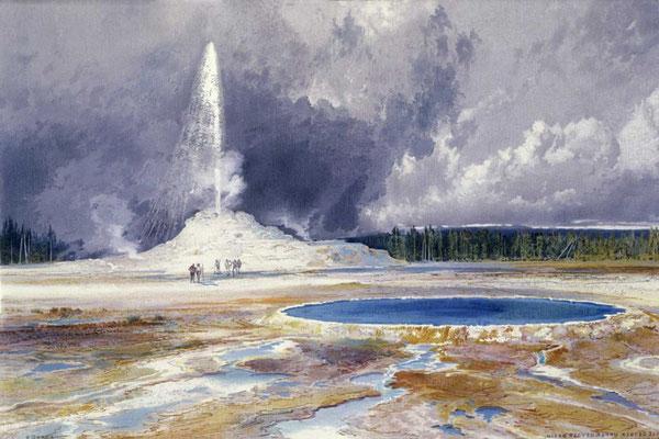 """Yellowstone Castle Geyser"" von Thomas Moran 1874, Whitney Western Art Museum"