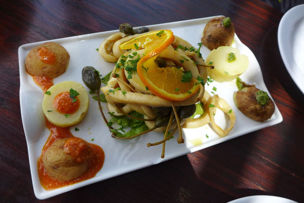 Calamari im Restaurant El Chupadero in La Geria