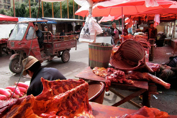 Yak Meat Market in Kangding