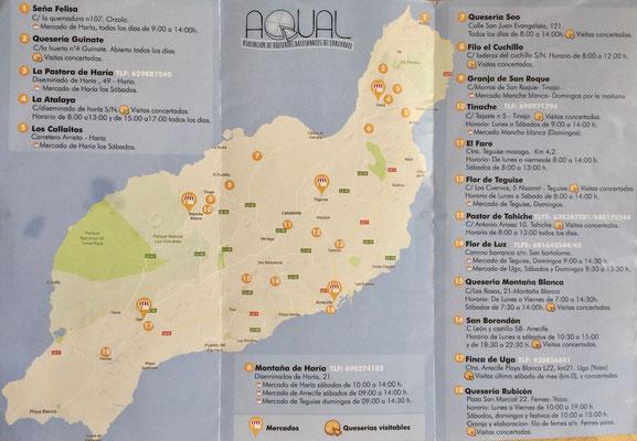 Karte Queserias in Lanzarote, Hersteller & Märkte