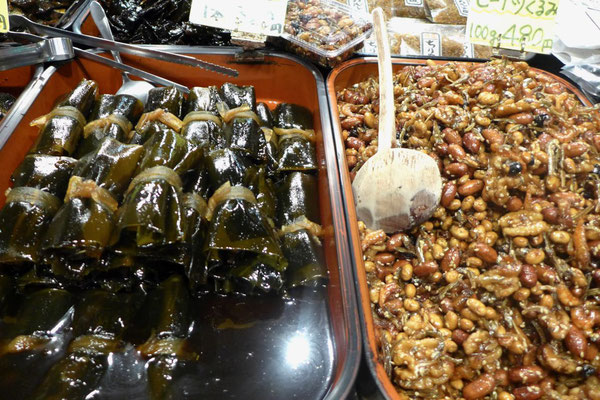 Kyoto Nishiki Markt Snacks zum probieren