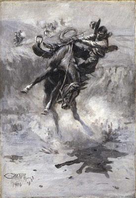 """""""Escape"""" von Charles M. Russel 1908, Whitney Western Art Museum"""