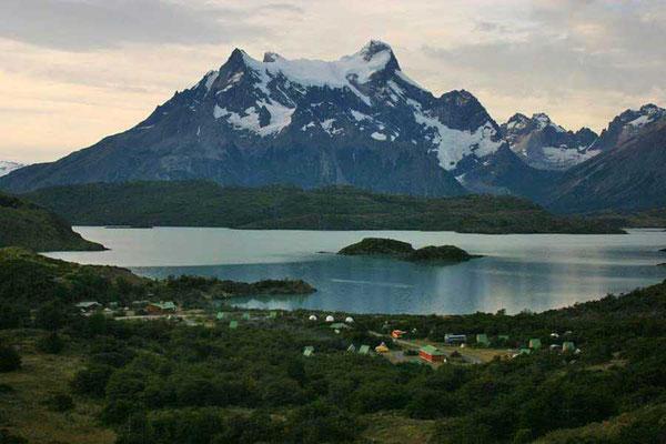 Camping Pehoé, beste Lage am Lago Pehoé, Torres del Paine