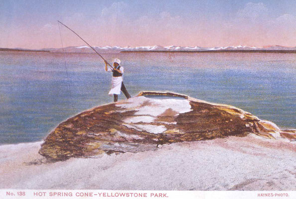 "Postkarte ""Fish Pot Hot Springs"" (Fishing Cone), Yellowstone Lake; Frank J Haynes"
