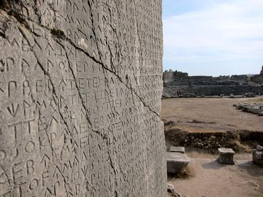 Xanthos längste lykische Inschrift, Unesco Weltkulturerbe, Türkei Lykische Küste