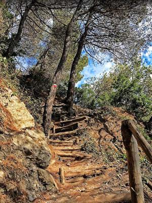 Wanderung zum Punta Corvo Strand Ligurien