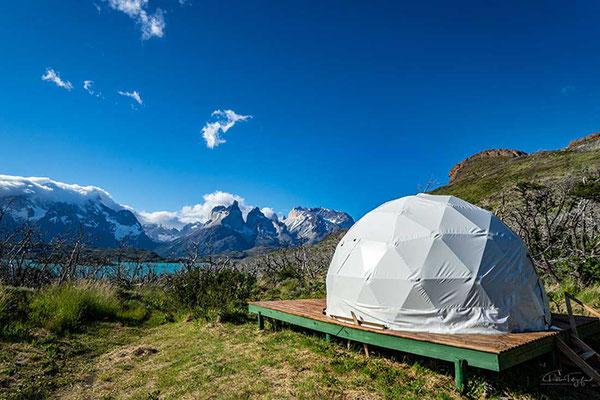 Dome Unterkunft am Camping Pehoé, Torres del Paine