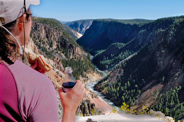 Lunchpause am Inspiration Point – Yellowstone Grand Canyon