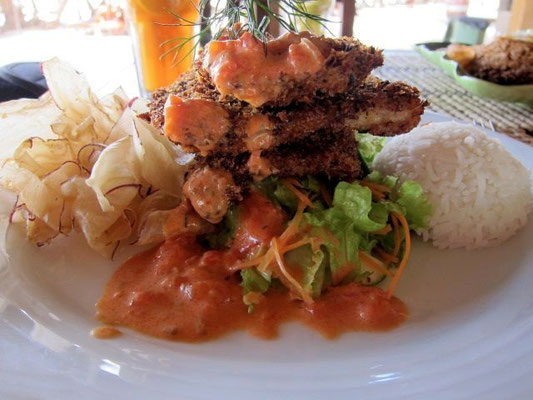 Coconut coated Fish, Beach Restaurant Nilaveli Beach Hotel, Sri Lanka