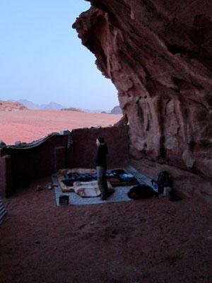 """Outdoor Schlafplatz """"Cave"""", Wadi Rum Jordanien"""