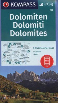 Dolomiten 4er-Kartenset Kompass-Verlag
