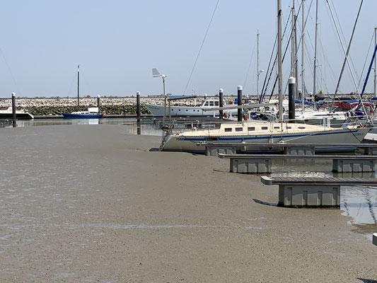 Ich hoffe der Hafen versandet nicht weiter ... das ist genau die Seite gegenüber von meinem Liegeplatz, aber bei Hochwasser komme ich auf alle Fälle raus!
