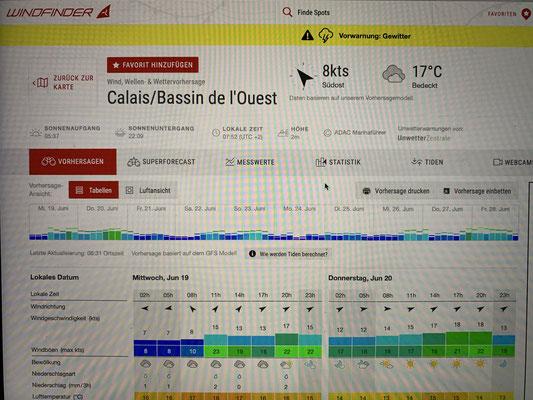 Heute vormittag warte ich darauf, dass die Gewitterwarnung endlich aufgehoben wird ... dann geht es wohl so gegen 13 Uhr los nach Boulogne Sur Mer! Nur eine kurze Etappe von 19 Meilen heute!