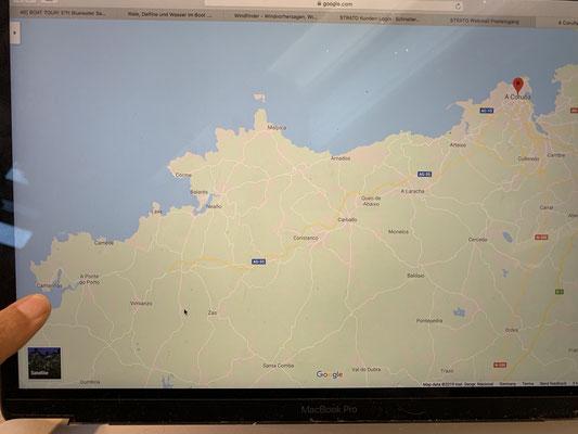 ... und dann die Costa Morte (wohl ein recht gefährlicher Küstenabschnitt Spaniens) .. und um das Cap Finisterre (vom Roten Punkt oben rechts bis zu meinem Finger links) ... hier hatte ich dann ,..