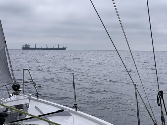 Unterwegs sind so gut wie keine anderen Schiffe zu sehen ... andere Segelyachten sehe ich erst wieder kurz vor Madeira und die paar Frachter die ich auf dem Radar sehe kommen nur selten so nahe wie der Frachter hier im Bild!