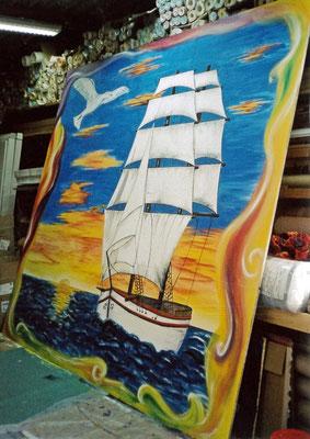 Peinture murale sur panneau en bois, voilier (h.260 cm x l.230 cm ) - Copyright Pascale Richert