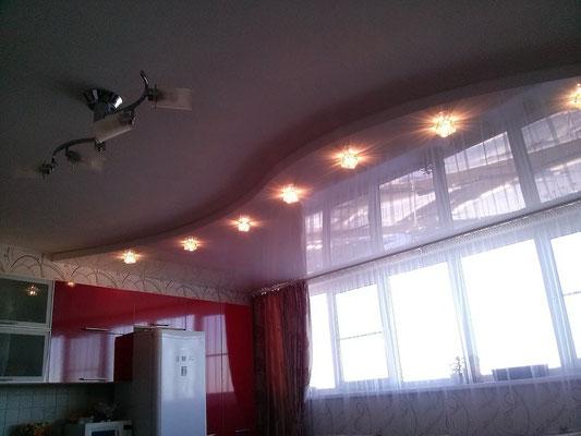 глянец белый в сочетании с обычным потолком Липецк