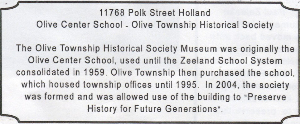 Olive Center School - 11768 Polk Street, Holland