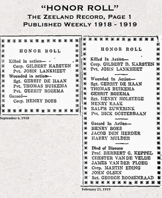 """HONOR ROLL"" Published Weekly 1918-1919 :: KILLED in Action, WOUNDED in Action, GASSED in Action, DIED of Disease"