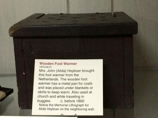 Wooden foot warmer used by Mrs. John (Alida) Heyboer