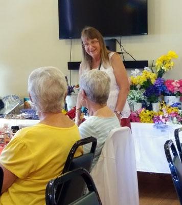 Debbie greets guests