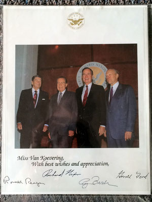 Presidents Reagan, Nixon, Bush and Ford honor Zeelander, Antoinette Van Koevering - July 19, 1990