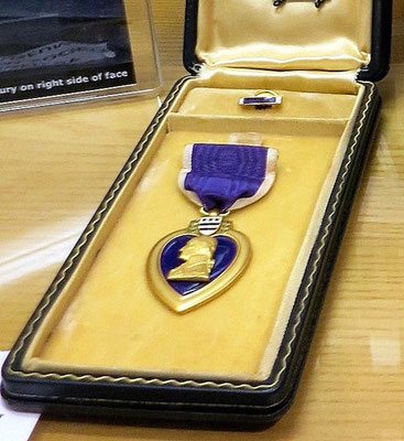 The Purple Heart is awarded to those wounded or killed, while serving with the U.S. military.   On loan from Earl Klein