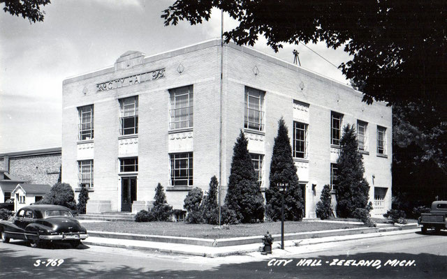 City Hall - Zeeland, Michigan, dedicated on February 28, 1934 - BUILDER: Peter Brill