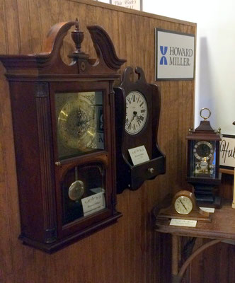 Three of the clocks on display are Howard Miller clocks.