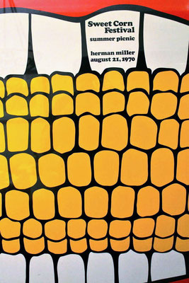 In 1970, Frykholm was asked to design a poster for the company picnic, named the Sweet Corn Festival. Frykholm came up with a pair of teeth clamped around an ear of corn. (internet photo)