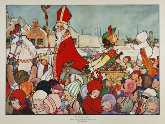 Sinterklaas, dressed in his red robes, leads a procession through the town, riding a white horse with his servant called Zwarte Pieten
